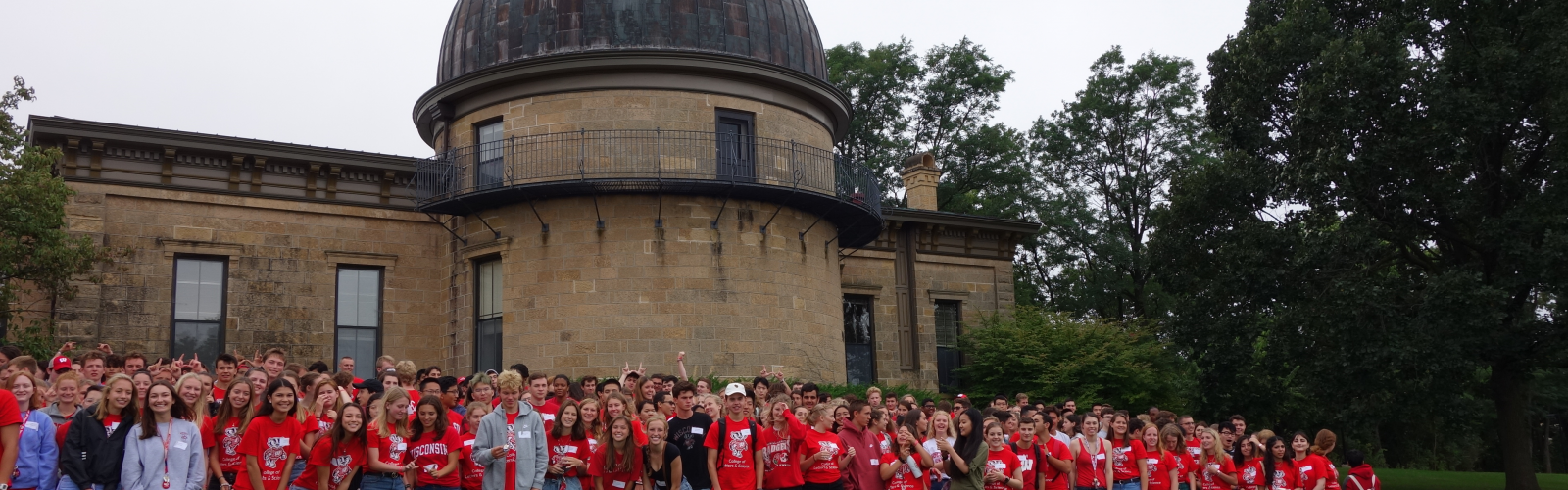 Honors students in front of Washburn Observatory