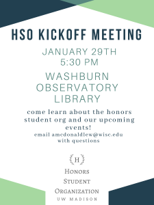 HSO Spring Kickoff Meeting January 29, 2020, at 5:30pm