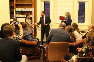 Interim L&S Dean Wilcots congratulates graduating senior Daphne Wang