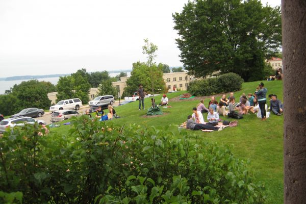 Students outside of Washburn Observatory