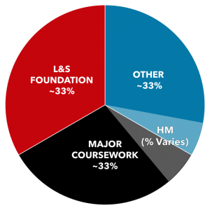 """Pie chart divided into thirds: L&S foundation, major coursework, and other. A translucent slice of the pie chart labeled """"HM (% varies)"""" covers part of """"major coursework"""" and part of """"other."""""""